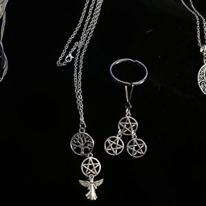 Jewelry - Pentacle/Angel/tree of life necklace & keychain